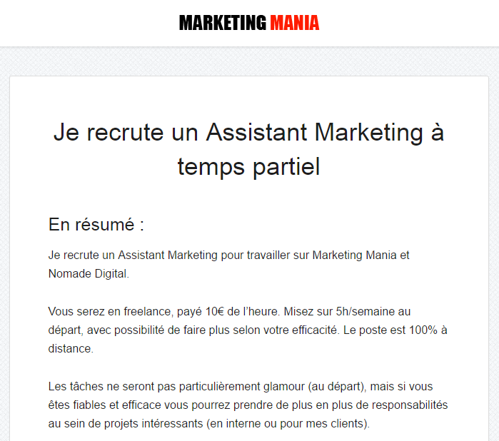 Recrutement freelance salariat déguisé marketing mania
