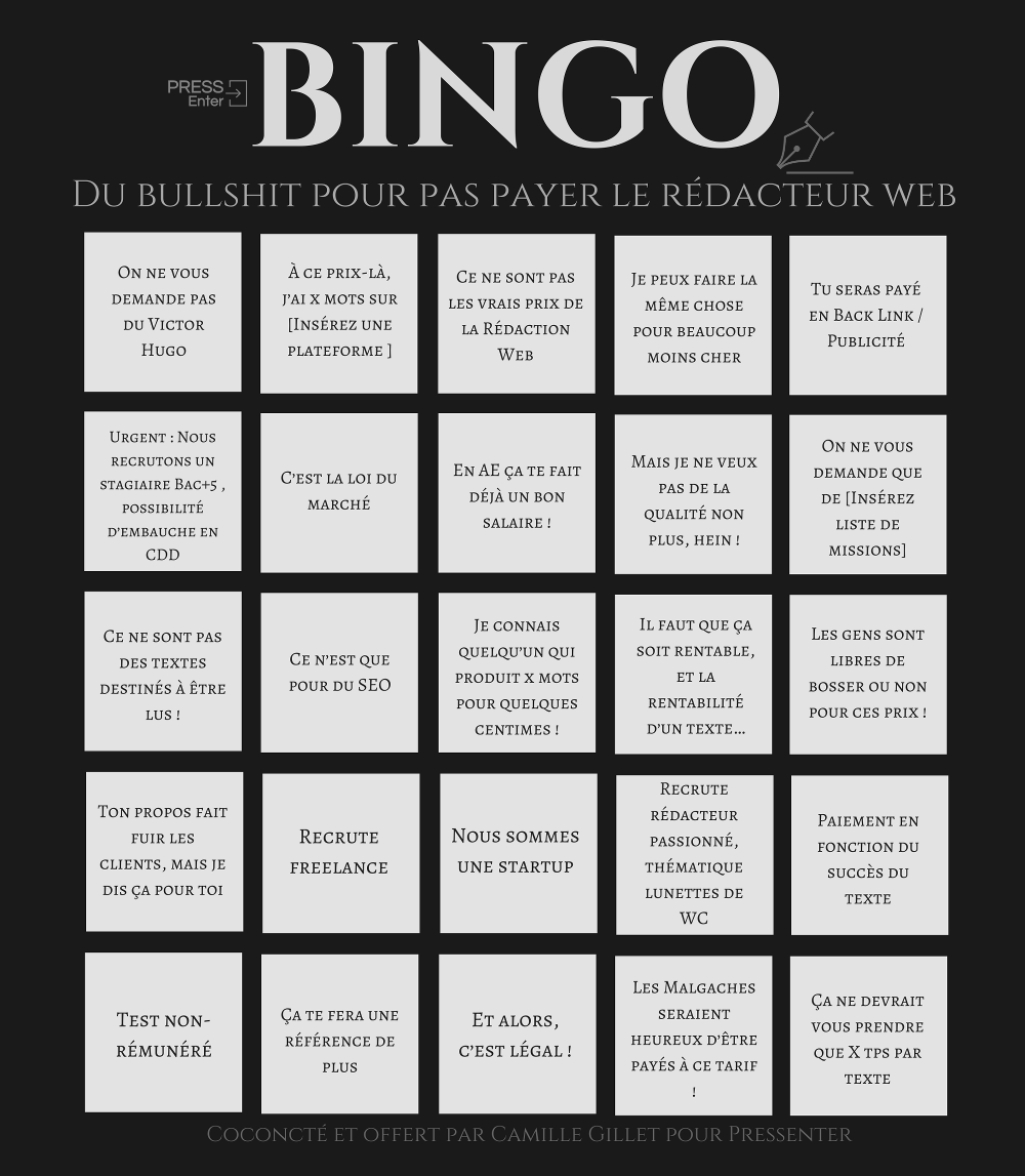 Grille bingo du bullshit en rédaction web